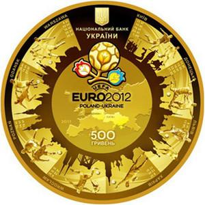 Изображение самой дорогой золотой монеты Украины Евро-2012