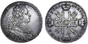 Изображение 1 рубля 1728 года