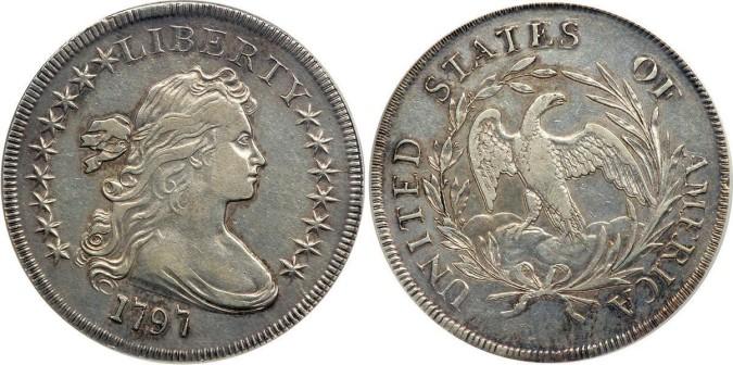 Серебряная монета 1 доллар США 1797 года