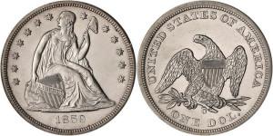 Серебряная монета 1 доллар США 1859 года