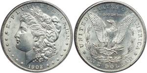 Серебряная монета 1 доллар США 1902 года