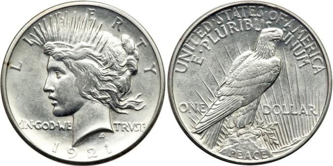 Серебряная монета 1 доллар США  1921 года