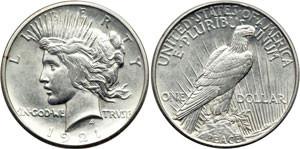 Серебряная монета 1 доллар США