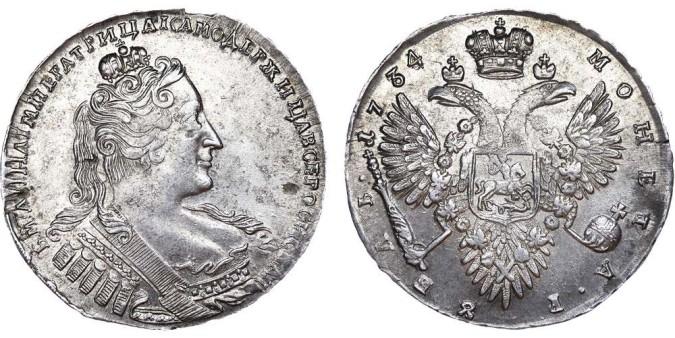 Изображение 1 рубля Анны Иоановны 1734 года
