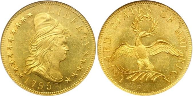 Золотая монета 10 долларов США 1795 года