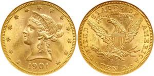Золотая монета 10 долларов США 1901 года
