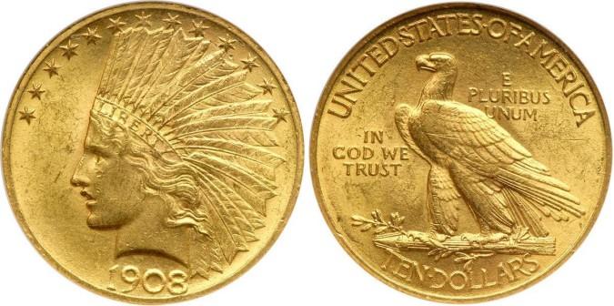 Золотая монета 10 долларов США 1908 года