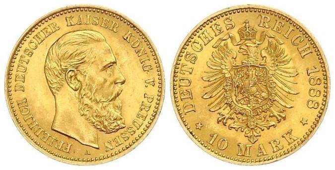 Золотая монета 10 марок Германии и Австрии 1888 года