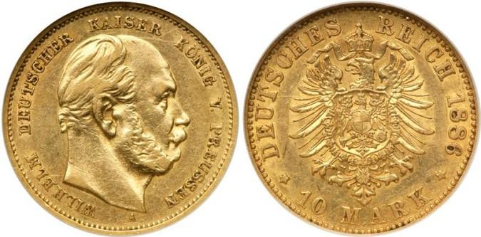 Золотая монета 10 марок Германии и Австрии 1886 года