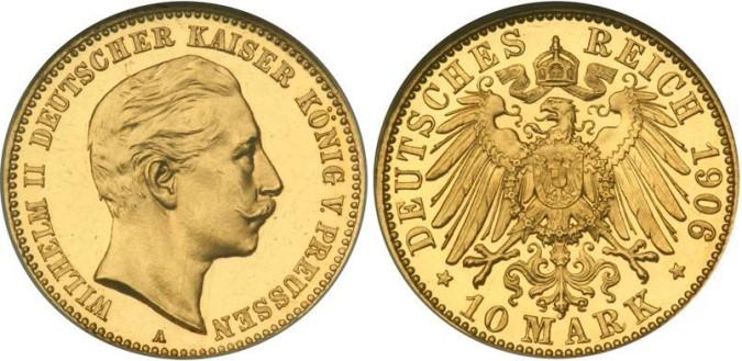 Золотая монета 10 марок Германии и Австрии 1906 года