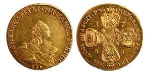 Золотая монета 10 рублей Елизаветы
