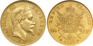 100 франков Наполеона III 1869 года