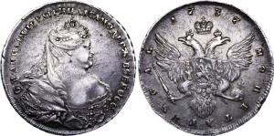 Изображение 1 рубля Анны Иоановны 1736 года портрет Гедлингера