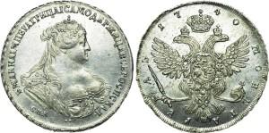 Изображение 1 рубля Анны Иоановны 1738 года - работа Дмитриева