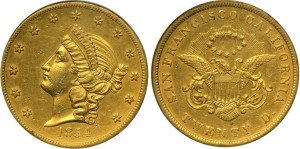 Золотая монета 20 долларов США 1854 года