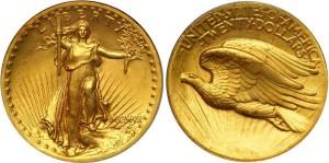 Золотая монета 20 долларов США 1907 года