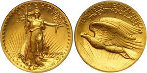 Золотая монета 20 долларов США