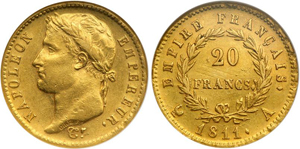 100, 50 и 20 франков Франции