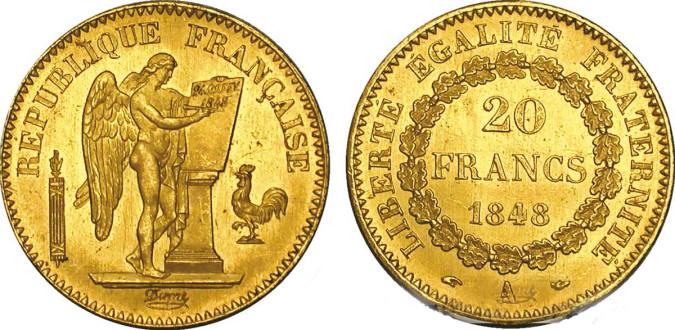 20 франков 2-й Французской Республики 1848 года