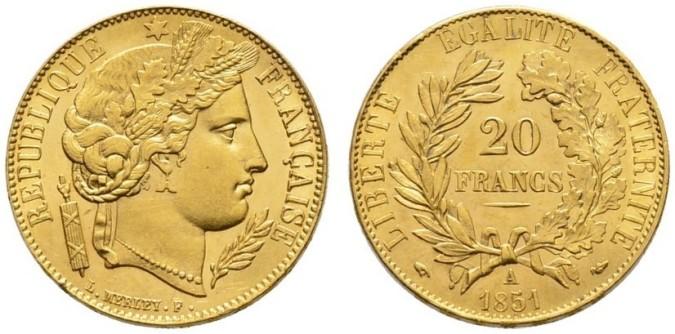 20 франков 2-й Французской Республики 1851 года