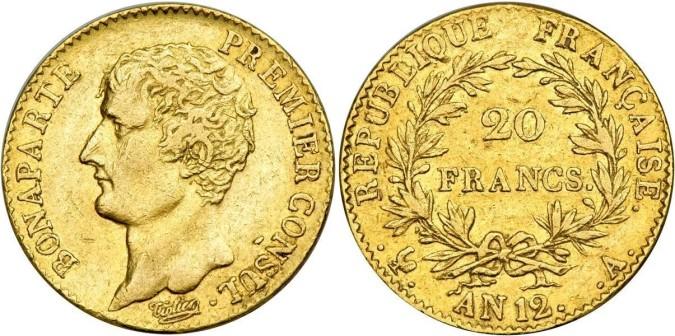 20 франков Наполеона Бонапарда 1803 года