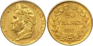 20 франков Луи-Филиппа 1847 года