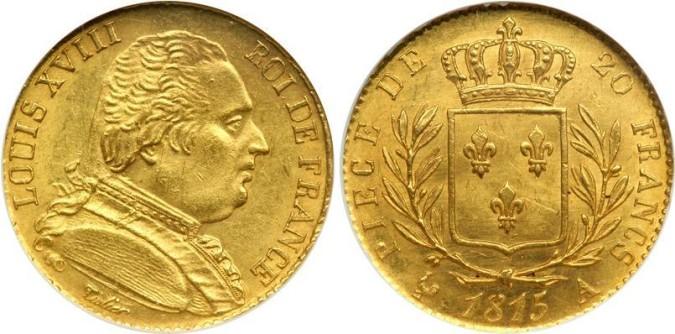 20 франков Людовика XVIII 1815 года