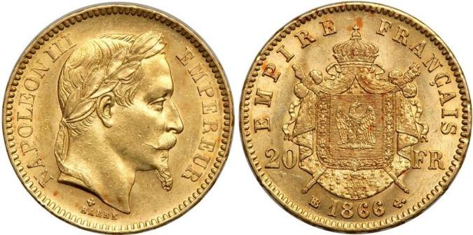 20 франков Наполеона III 1866 года