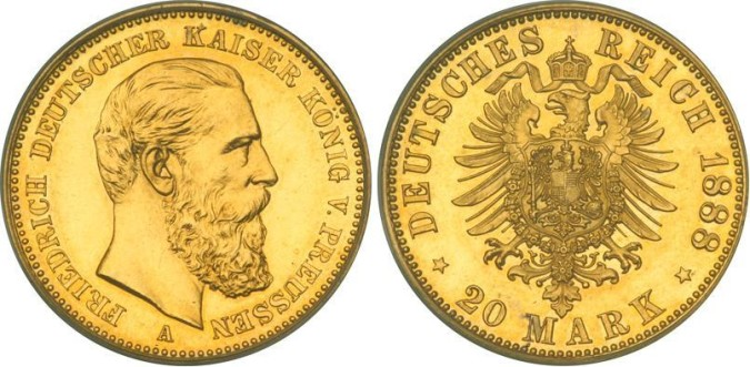 Золотая монета 20 марок Германии и Австрии 1888 года