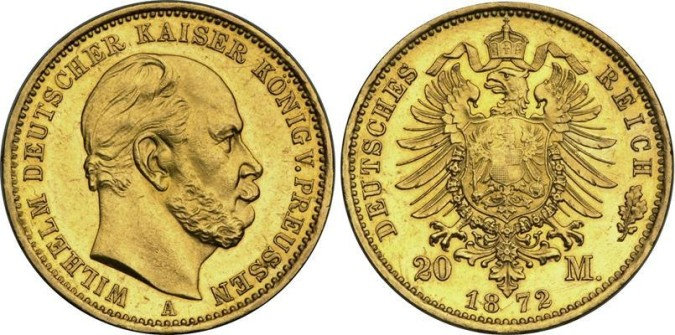 Золотая монета 20 марок Германии и Австрии 1872 года