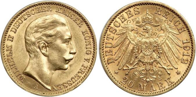 Золотая монета 20 марок Германии и Австрии 1912 года