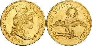 Золотая монета 5 долларов США 1795 года
