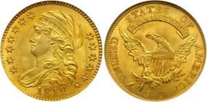 Золотая монета 5 долларов США 1812 года