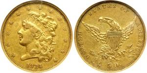 Золотая монета 5 долларов США 1834 года
