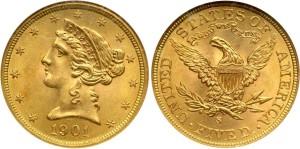 Золотая монета 5 долларов США 1901 года
