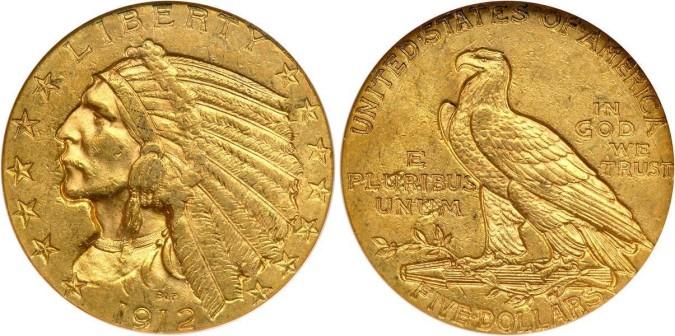 Золотая монета 5 долларов США 1912 года