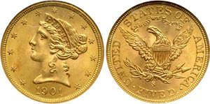 Золотая монета 5 долларов США