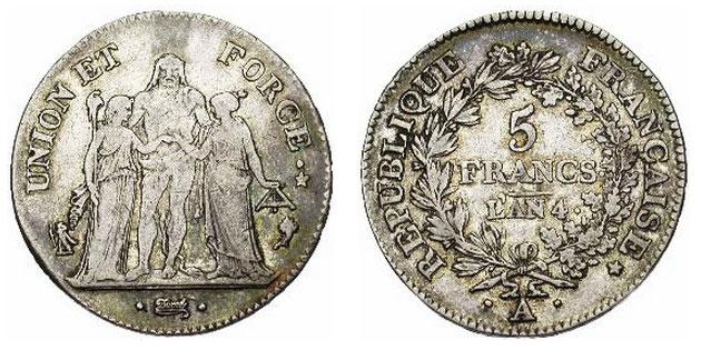 Серебряные 5 франков Франции 1799 года