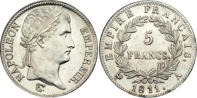Серебряные 5 франков Франции 1811 года