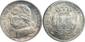 Серебряные 5 франков Франции 1815 года