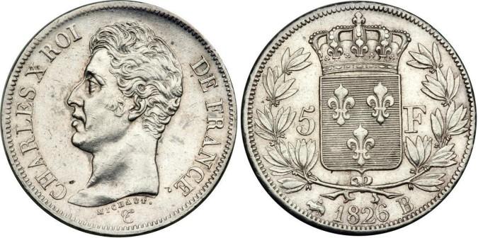 Серебряные 5 франков Франции 1826 года