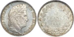 Серебряные 5 франков Франции 1848 года