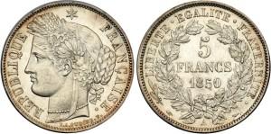 Серебряные 5 франков Франции 1850 года