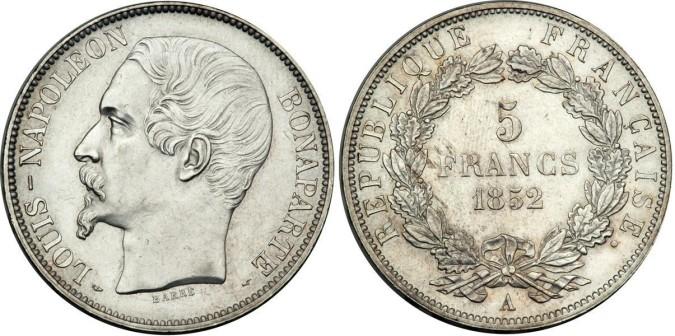 Серебряные 5 франков Франции 1852 года