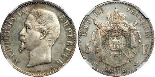 Серебряные 5 франков Франции 1856 года