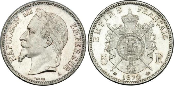Серебряные 5 франков Франции 1870 года