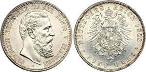 Серебряная монета 5 марок Германии и Австрии