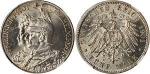 Серебряная монета 5 марок Германии и Австрии 1901 года