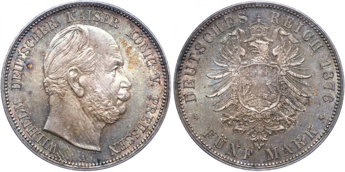 Серебряная монета 5 марок Германии и Австрии 1876 года