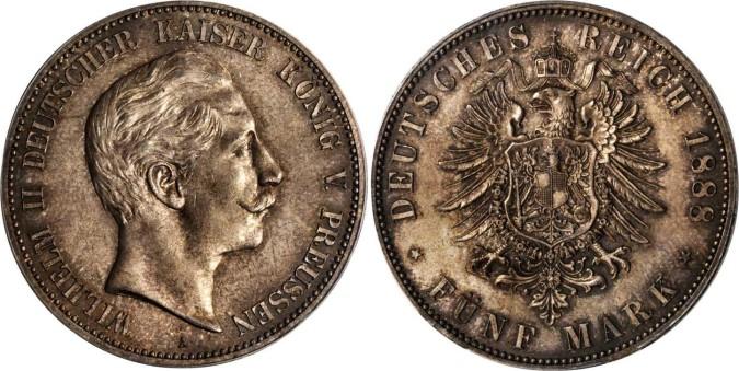 Серебряная монета 5 марок Германии и Австрии 1888 года